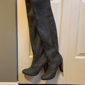 Steve Madden Gray Suede Thigh High Boots - Size 7